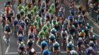 Riders, including Sam Bennett, compete in stage eight of the Tour of Britain in central London on September 22, 2013. Photograph: Oli Scarff/Getty Images