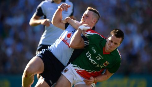 Dublin's Philip McMahon and Mayo's Cillian O'Connor in action at Croke Park. Photograph: Dara Mac Dónaill/The Irish Times