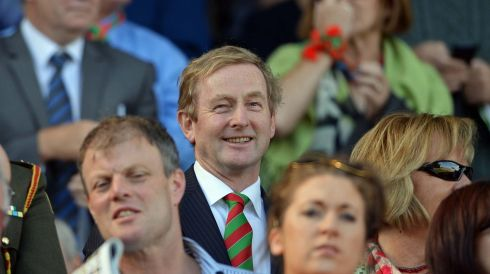 The Taoiseach wears his colours. We can only presume this shot was taken before the result became clear.  Photograph: Eric Luke/The Irish Times