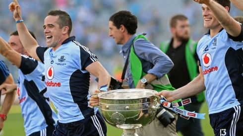 Ger Brennan and Philip McMahon with that haloed goblet. Photograph: Eric Luke/The Irish Times