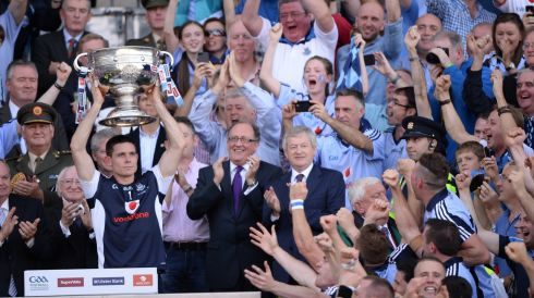 Dublin captain Stephen Cluxton lifts his crown. Photograph: Dara Mac Dónaill/The Irish Times