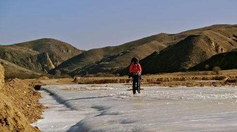 Trekking on ice in northern China. Photograph: Leon McCarron/PA Wire