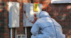 A crime scene investigators at the scene of the fatal stabbing in Tallaght  last night. Photograph: Colin Keegan, Collins