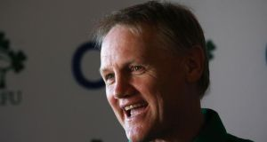 Ireland head coach Joe Schmidt addressing a press conference at the Ireland rugby squad's Carton House base in Co Kildare yesterday. Photograph: Dan Sheridan/Inpho