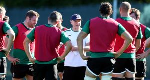 Head coach Joe Schmidt address the Ireland rugby squad during their training session at Carton House in Co Kildare yesterday. Photograph: Dan Sheridan/Inpho