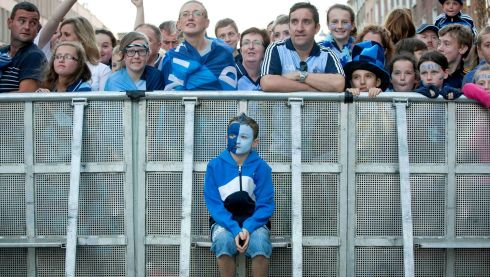 Conall Gleeson from Blanchardstown gets a good seat to watch the Dublin team. Photograph: INPHO/Morgan Treacy