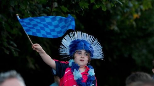 A young fan cheers on the Dublin team. Photograph: INPHO/Morgan Treacy