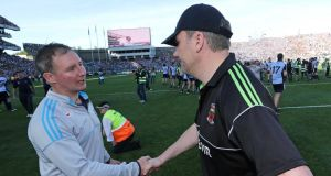Dublin manager Jim Gavin shakes hands with Mayo manager James Horan after the final at Croke Park. Photo:  Morgan Treacy/Inpho