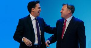 Labour Leader Ed Miliband and shadow chancellor Ed Balls at the second day of the Labour Party Annual Conference in Brighton. Photograph: Chris Ison/PA