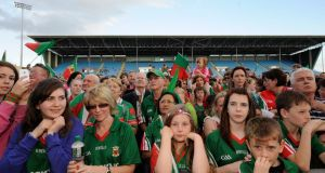 Fans at the homecoming of the Mayo teams in Castlebar last night. Photograph: Keith Heneghan/Phocus