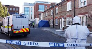 The scene at Ormond Square in central Dublin where a man was stabbed to death yesterday. Photograph: Colin Keegan/Collins
