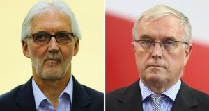 Brian Cookson (left) and Pat McQuaid will battle it out in Friday's vote for the UCI Presidency. Photograph: PA Wire/Reuters.