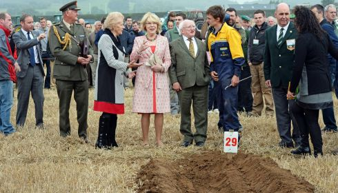 Brendan Greene, Ratheniska, explains his methods to President Michael D Higgins and Sabina Higgins, alongside Anna May McHugh (left), organiser, and James Sutton (right), chairman of the National Ploughing Association,  at the National Ploughing Championships at Ratheniska. Photograph: Eric Luke/The Irish Times