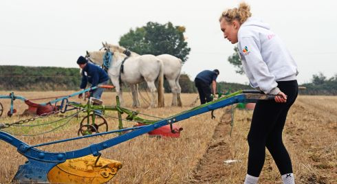 Toni Doran (17), from Wicklow, competing in the Horse Ploughing.  Photograph: Eric Luke/The Irish Times