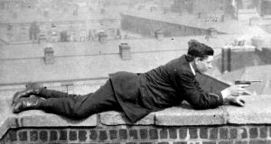 Anti-Treatyite Paddy Rigney on the roof of the Four Courts, Dublin, 1922. Photograph from 'Revolution in Dublin: A Photographic History 1913-23' by Liz Gillis (Mercier Press, €15.99)