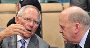 German Minister for Finance Wolfgang talking to Michael Noonan in Brussels.  Schäuble laid out the view on which Berlin's current policy is based with sobering clarity last week.  Photograph: Getty Images