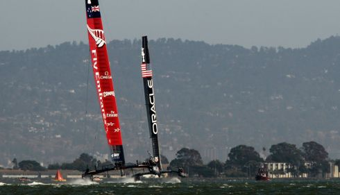 Oracle Team USA (right) holds a lead against Emirates Team New Zealand during Race 18 of the 34th America's Cup yacht race. Photograph: Robert Galbraith/Reuters