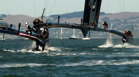 A view of the catamarans from the rear. Photograph: Robert Galbraith/Reuters
