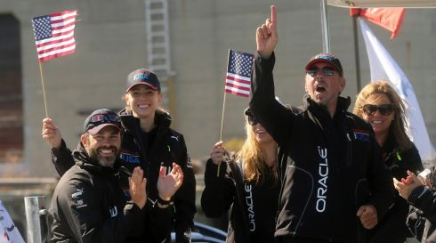 Oracle chief executive Larry Ellison happy out after Oracle Team USA's win. Photograph: Robert Galbraith/Reuters