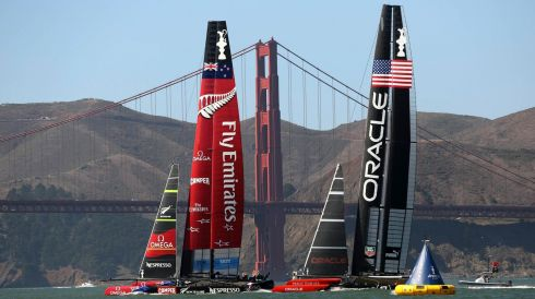 How it all looked on day 17 of the America's Cup. Photograph: Robert Galbraith/Reuters