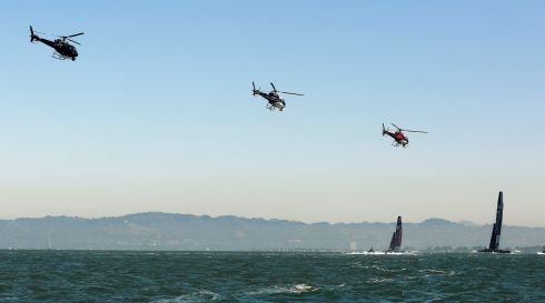Too many helicopters: There's money in them there yachts. Photograph:Robert Galbraith/Reuters