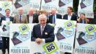 Senator Fergal Quinn is picuted with other members of Democracy Matters group who are campaigning for a No vote in the Seanad referendum. Photograph: Aidan Crawley.