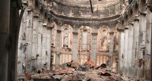 Devastation: the interior of the cathedral after the fire on Christmas Day, 2009. Photograph: Tiernan Dolan
