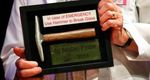 An Ig Nobel Prize at the Harvard University ceremony. Photograph: Brian Snyder/Reuters