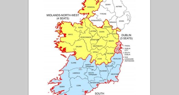 Map Of Ireland Midlands.Redrawn Constituencies For European Elections Published