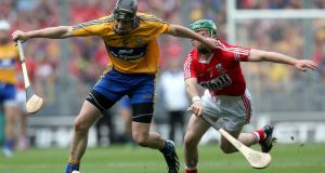 Cork's Daniel Kearney and Patrick Donnellan of Clare during the All-Ireland final. Photograph: Ryan Byrne/Inpho