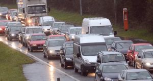 A file photograph of a traffic jam on the N11.  An incident at the N11 bridge has caused the route to be shut in both directions.  Photograph: Cyril Byrne/The Irish Times