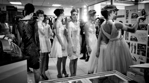 Models backstage before the Christophe Guillarme show as part of Paris Fashion Week Womenswear Spring/Summer 2014.  Photograph: Gareth Cattermole/Getty Images