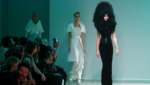 Models present creations by designer Gareth Pugh as part of his Spring/Summer 2014  women's ready-to-wear fashion show during Paris fashion week. Photograph: Charles Platiau/Reuters