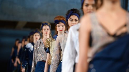 Models walk the runway during Alexis Mabille show as part of the Paris Fashion Week Womenswear  Spring/Summer 2014 at Docks en Seine.  Photograph: Pascal Le Segretain/Getty Images