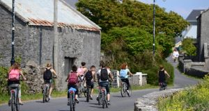 Tourists on Inis Mór the largest of the Aran Islands. Photograph: Bryan O'Brien / THE IRISH TIMES