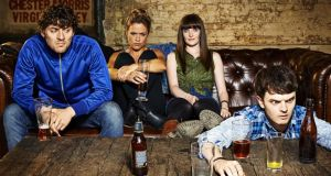 Drinking-up time: Packy (Peter Campion), Bronagh (Sinead Keenan), Niamh (Kat Reagan) and Conor (Kerr Logan) in 'London Irish'