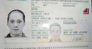 A copy of the fake South African travelling passport of Samantha Lewthwaite in this handout photo released by the Kenyan police. Photograph: Kenyan Police Service/Handout via Reuters