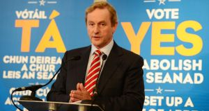 Taoiseach Enda Kenny TD launches Fine Gael's Yes campaign this month. Photograph: Bryan O'Brien / The Irish Times
