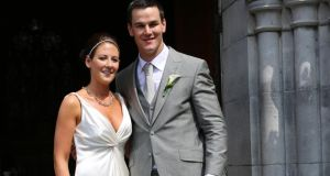 Childhood sweethearts: Jonny Sexton with his wife Laura, left, on their wedding day in July. Photograph: Liam Burke/Press 22