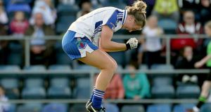 Ellen McCarron celebrates at the final whistle following  Monaghan's semi-final victory over Galway at Breffni Park. Photograph: Lorraine O'Sullivan/Inpho