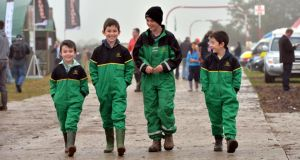 Luke Morrissey, Jack Morrissey, Matthew McKienney and Dylan Morrissey from Tipperary and Donegal at the National Ploughing Championships, Ratheniska. Photograph: Alan Betson