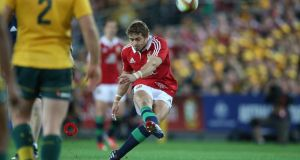 Cardiff's Leigh Halfpenny will be just one of several British and Irish Lions on duty in tonight's clash at the RDS. Photograph: Billy Stickland/Inpho