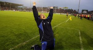 Waterford manager Davy Fitzgerald celebrates at the final whistle following victory over Cork in the 2010 Munster final replay – a game played under lights at Thurles. Photograph: Cathal Noonan/Inpho