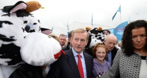 Taoiseach Enda Kenny visiting the National Ploughing Championships at Ratheniska, Stradbally, Co Laois yesterday. Photograph: Alan Betson.