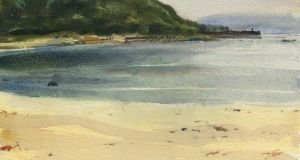 Old Head Beach, Clew Bay, by Joe Dunne RHA at The Water Colour Society of Ireland's 159th exhibition