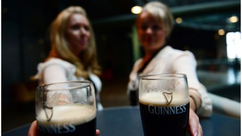 Jane McLean (left) and Caitriona Boyle at the Guinness Hopstore to see  Kodaline one of the first acts to perfrom for the Guinness sponsored Arthurs Day in Dublin. Photograph: Bryan O'Brien/Irish Times