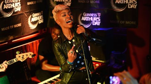 Emeli Sande performs at Paddy Cullen's as part of the fifth annual Arthur's Day celebrations. Photograph:  Ian Gavan/Getty Images