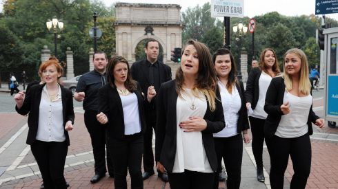 The Dublin Gospel Choir perform on Grafton Street ahead of the fifth annual Arthur's Day celebrations. Photograph: Stuart C. Wilson/Getty Images