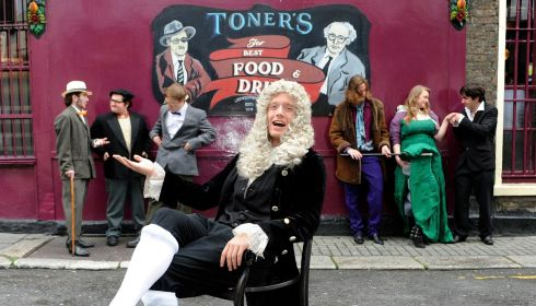 To celebrate Arthur's Day, Toner's pub in Dublin showcased a unique deeper creative experience - Arthur's Ghost' gathered together some of our best loved literary characters; Yeats, Behan, Kavanagh. Wilde and Joyce along with a few old Dublin favourites like Molly Malone. Photograph: Dave Meehan/ Getty Images