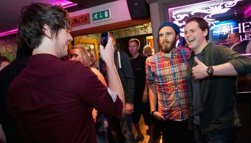 James Vincent McMorrow poses with a fan at the Cavern Bar. Photograph:  Ramsey Cardy/Getty Images